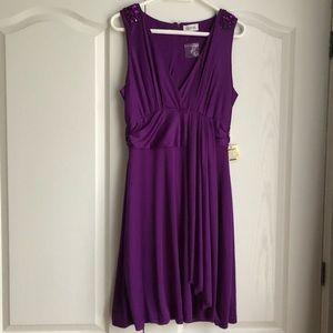 Purple Formal Knee Length Dress